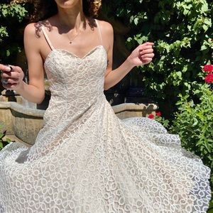 Ivory Lace Fully Satin Lined A-line Midi Dress